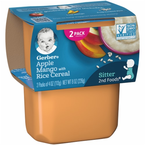 Gerber Apple Mango with Rice Cereal Stage 2 Baby Food Perspective: left