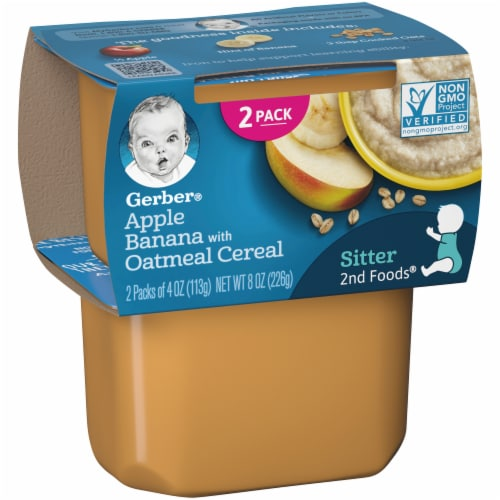 Gerber 2nd Foods Apple Banana with Oatmeal Cereal Stage 2 Baby Food Perspective: left