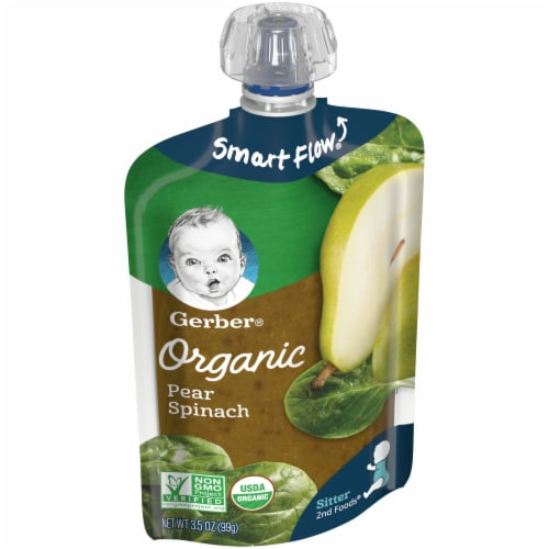 Gerber Organic Pear Spinach Pouch Perspective: left