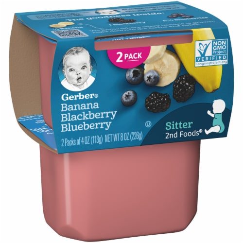 Gerber Banana Blackberry Blueberry Stage 2 Baby Food 2 Count Perspective: left