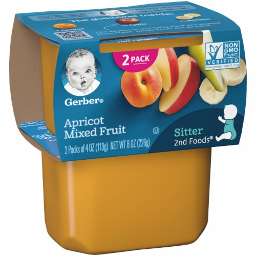 Gerber 2nd Foods Apricot Mixed Fruit Baby Food Perspective: left
