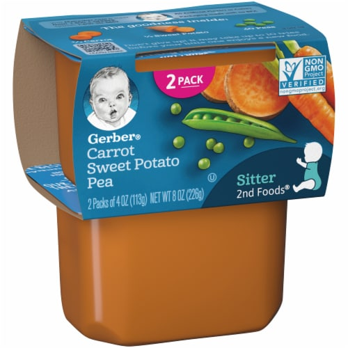 Gerber 2nd Foods Carrot Sweet Potato and Pea Stage 2 Baby Food Perspective: left