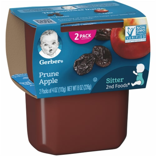 Gerber Prune Apple Stage 2 Baby Food Perspective: left