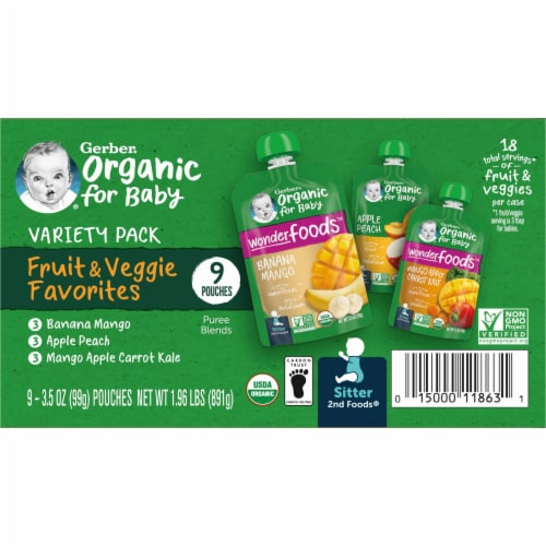 Gerber 2nd Foods Organic Variety Pack Stage 2 Baby Food Perspective: left