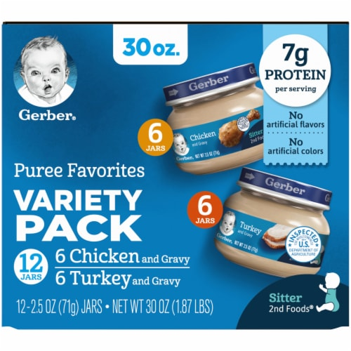 Gerber 2nd Foods Puree Favorites Chicken and Turkey Variety Pack Perspective: left