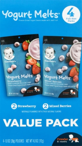 Gerber Yogurt Melts Freeze-Dried Yogurt Snacks Perspective: left