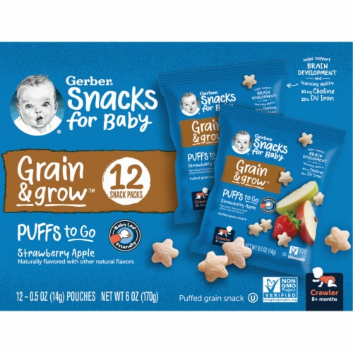 Gerber Puffs to Go Crawler Strawberry Apple Perspective: left