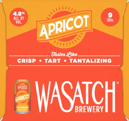 WaSatch Brewery Apricot Hefeweizen Beer Perspective: left