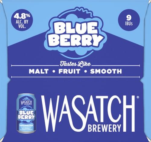 WaSatch Brewery Blue Berry Hefeweizen Perspective: left