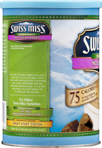 Swiss Miss No Sugar Added Hot Cocoa Mix Canister Perspective: left