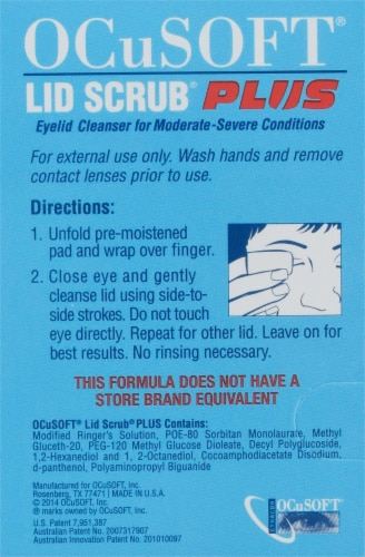 OCuSOFT Lid Scrub Plus Eyelid Cleanser Premoistened Pads 30 Count Perspective: left