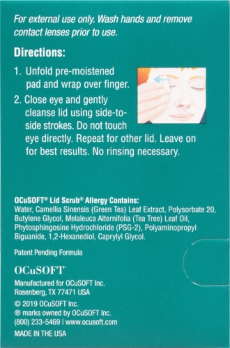 OCuSOFT Lid Scrub Allergy Eyelid Cleanser Pads Perspective: left