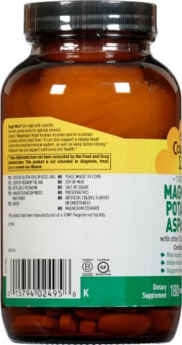 Country Life Magnesium Potassium & Aspartate Thin Tablets Perspective: left