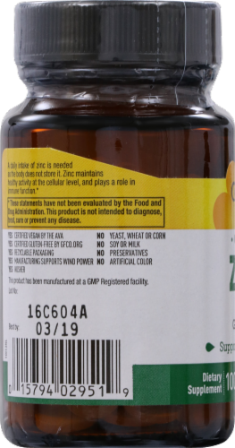 Country Life Chelated Zinc 50 mg Tablets Perspective: left