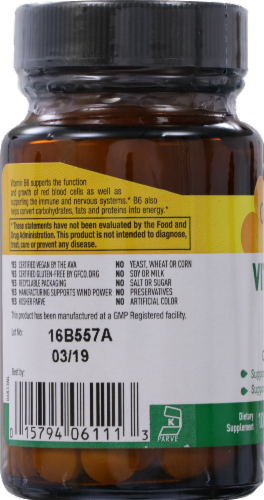 Country Life Vitamin B6 Tablets 100mg 100 Count Perspective: left