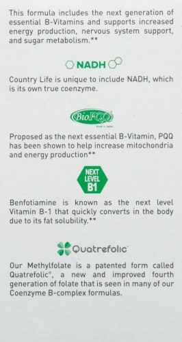 Country Life Advanced Coenzyme B-Complex Vegetarian Capsules 120 Count Perspective: left