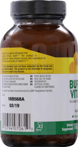 Country Life Buffered Vitamin C Tablets 1000mg 100 Count Perspective: left
