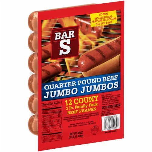Bar-S Quarter Pound Beef Jumbo Jumbo Franks 12 Count Perspective: left