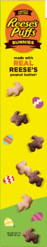 Reese's Puffs Peanut Butter Bunnies Sweet & Crunchy Corn Puff Cereal Perspective: left