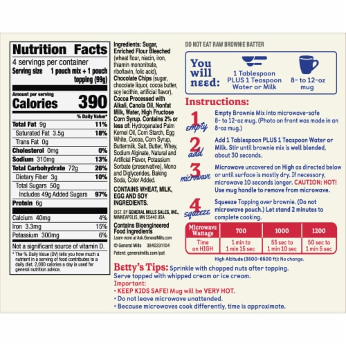 Betty Crocker Hot Fudge Brownie Mug Treat Mix Pouches Perspective: left