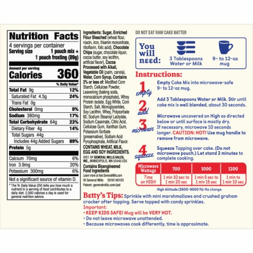 Betty Crocker Triple Chocolate Cake Mug Treat Mix Pouches Perspective: left