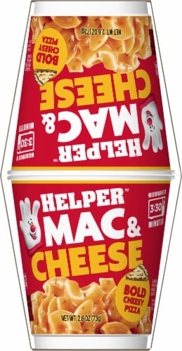 Hamburger Helper Bold Cheesy Pizza Mac & Cheese Microwave Cups Perspective: left