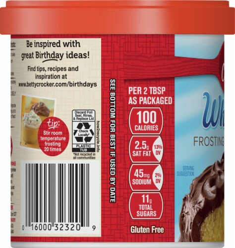 Betty Crocker Whipped Chocolate Frosting Perspective: left