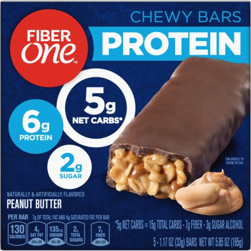 Fiber One Protein Peanut Butter Chewy Bars Perspective: left