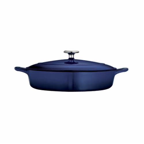 Tramontina Gourmet Covered Cast Iron Braiser - Gradated Cobalt Perspective: left