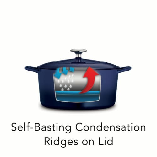 Tramontina Covered Round Dutch Oven - Blue Perspective: left