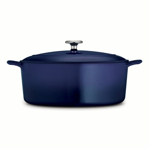 Tramontina Gourmet Covered Oval Cast Iron Dutch Oven - Gradated Cobalt Perspective: left