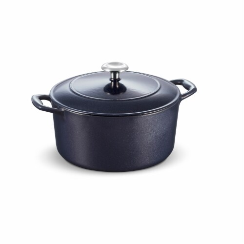 Tramontina Gourmet Covered Round Cast Iron Dutch Oven - Dark Blue Perspective: left