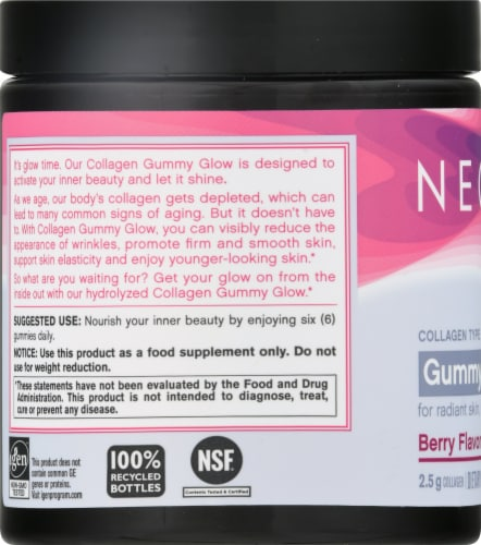 Neocell Gummy Glow Berry Flavor Collagen & Biotin Gummies Perspective: left