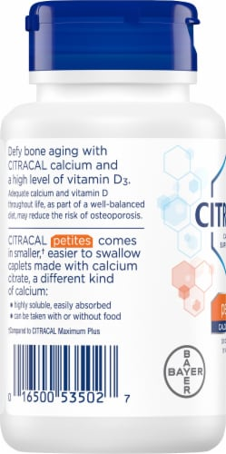 Citracal Petites Calcium Citrate Plus D3 Coated Caplets 100 Count Perspective: left