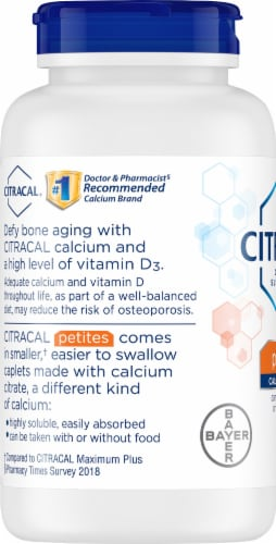 Citracal Calcium Citrate with Vitamin D Petite Supplement Caplets Perspective: left