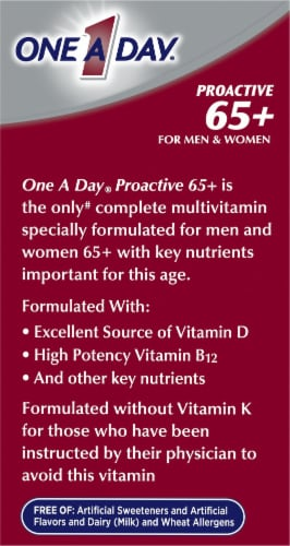 One A Day Proactive 65+ for Men & Women Multivitamin Tablets Perspective: left