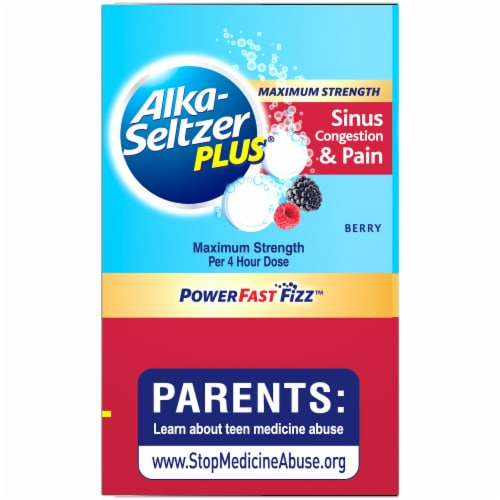 Alka-Seltzer Plus® Berry Max Strength Sinus Congestion & Pain Perspective: left