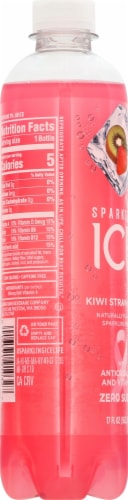 Sparkling Ice Kiwi Strawberry Flavored Sparkling Water Perspective: left