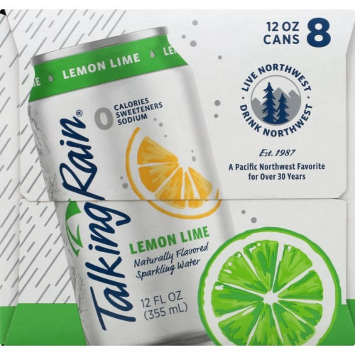 Talking Rain Lemon Lime Sparkling Water 8 Cans Perspective: left