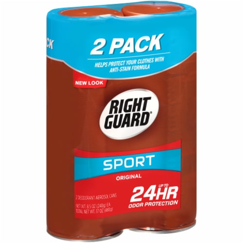 Right Guard Sport Original Deodorant Aerosol Cans Twin Pack Perspective: left