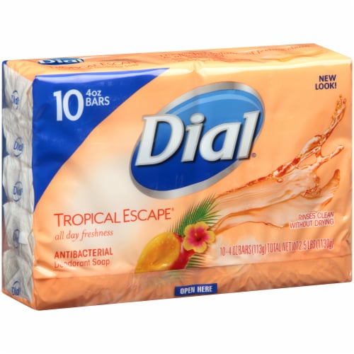 Dial® Tropical Escape® Antibacterial Deodorant Bar Soap Perspective: left