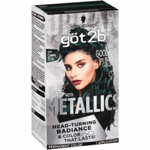 got2b Metallics M75 Cosmic Teal Hair Color Perspective: left