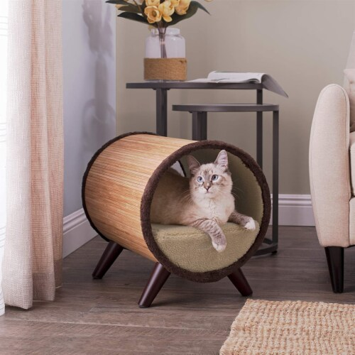 Paws & Purrs Tubular Bamboo Small Pet Bed w/ Removable Plush Fabric, Beige Perspective: left