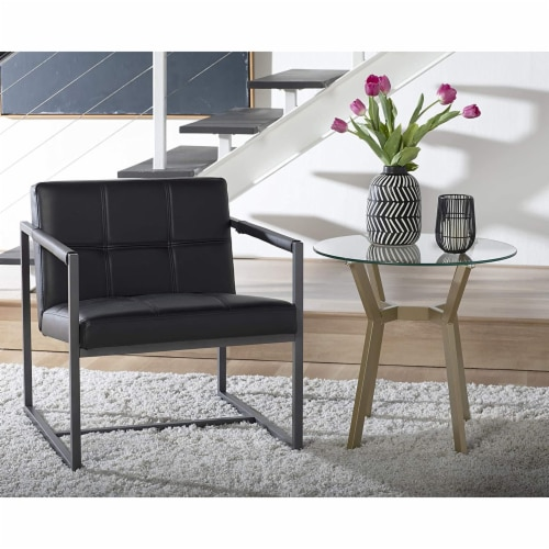 Studio Designs Home Camber Modern Small Accent Chair, Black Leather/Pewter Grey Perspective: left