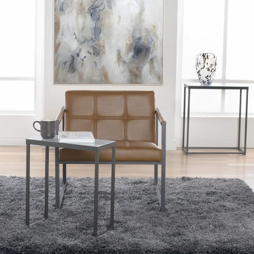 Studio Designs Home Camber Small Metal and Leather Accent Chair in Caramel Perspective: left
