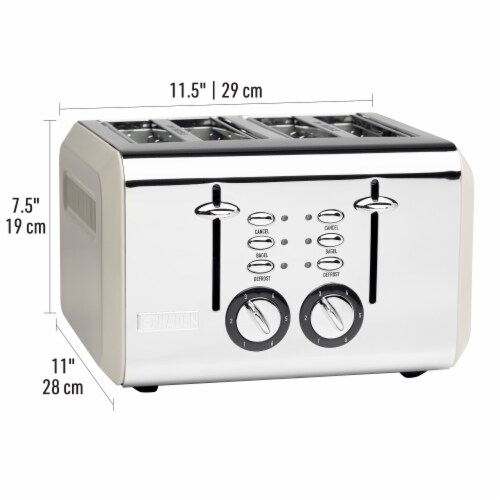 Haden Cotswold 4-Slice Wide Slot Toaster - Putty Perspective: left