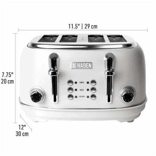 Haden Heritage 4-Slice Wide Slot Toaster - Ivory White Perspective: left