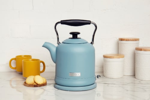 Haden Highclere Stainless Steel Cordless Electric Kettle - Poole Blue Perspective: left