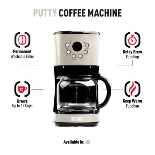 Haden Dorset Modern Programmable Coffee Maker - Putty Perspective: left