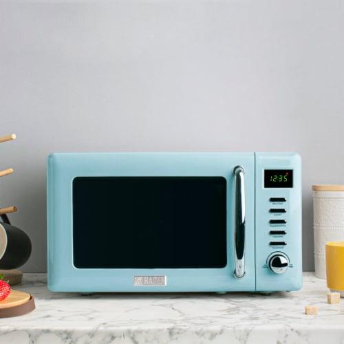 Haden Heritage 700-Watt Microwave - Turquoise Perspective: left